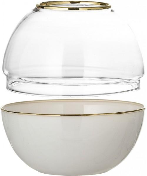 Kugel-Vase - Glas / Weiß /...